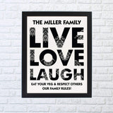 Personalised Live Love Laugh Framed Print