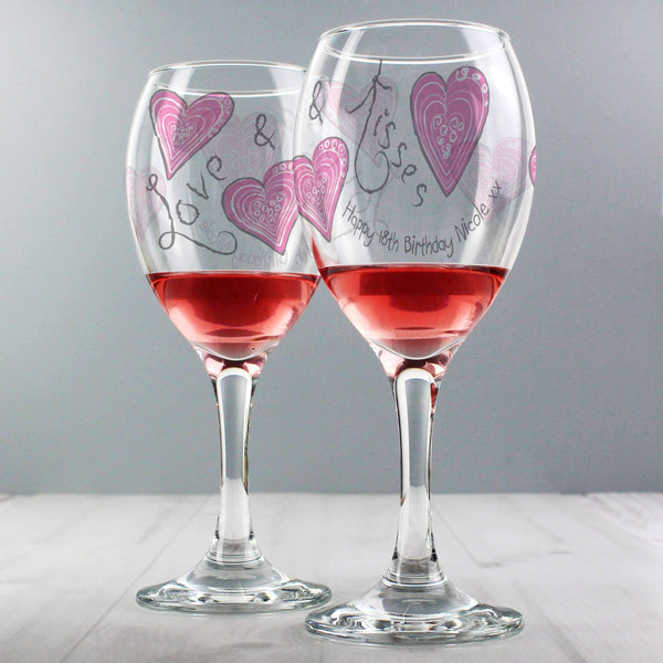 Personalised Love & Kisses Wine Glass
