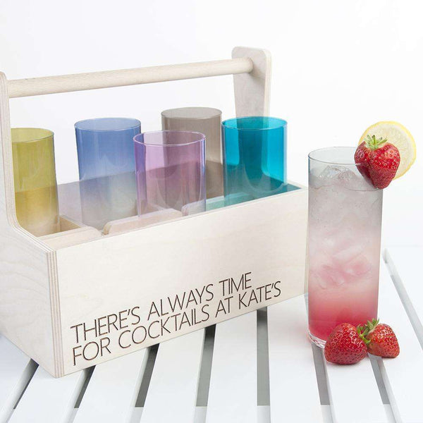 Personalised LSA Coloured Cocktail Highball Trug