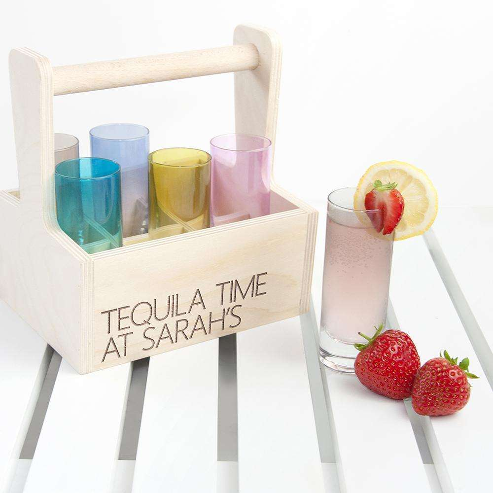 Personalised LSA Coloured Shot Glass Trug Glassware Treat
