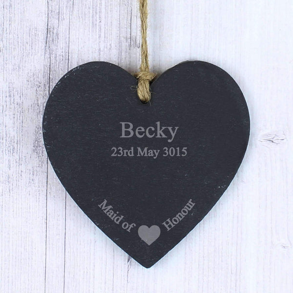 Personalised Maid Of Honour Slate Heart Decoration