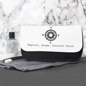 Personalised Male Compass Men's Wash Bag