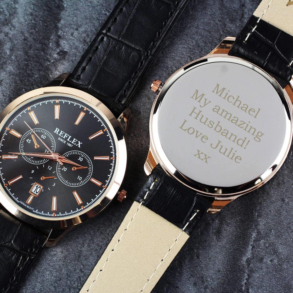 Personalised Men's Rose Gold Tone Watch with Presentation Box Memento