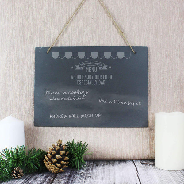 Personalised Menu Hanging Slate Sign
