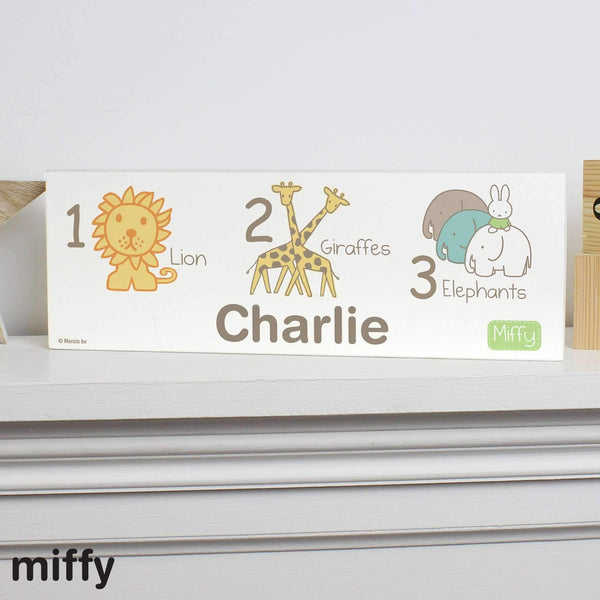 Personalised Miffy at the Zoo Wooden Block Sign