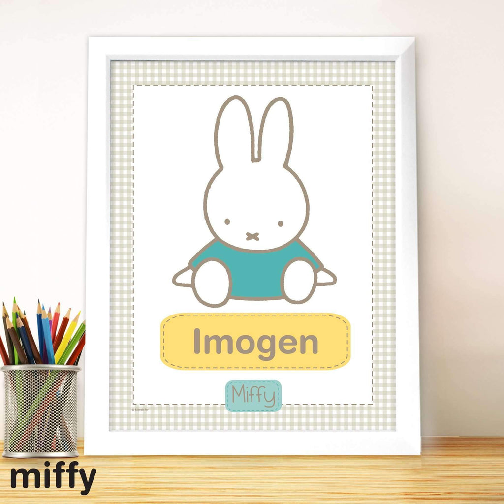 Personalised Miffy Gingham Large Name Frame Memento