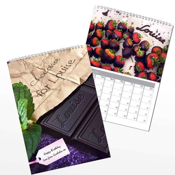 Personalised Milk Chocolate A4 Wall Calendar