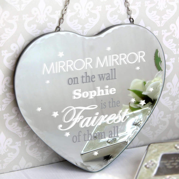 Personalised Mirror Mirror... Hanging Heart Mirror