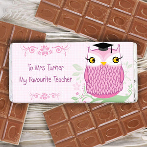 Personalised Miss Owl Milk Chocolate Bar