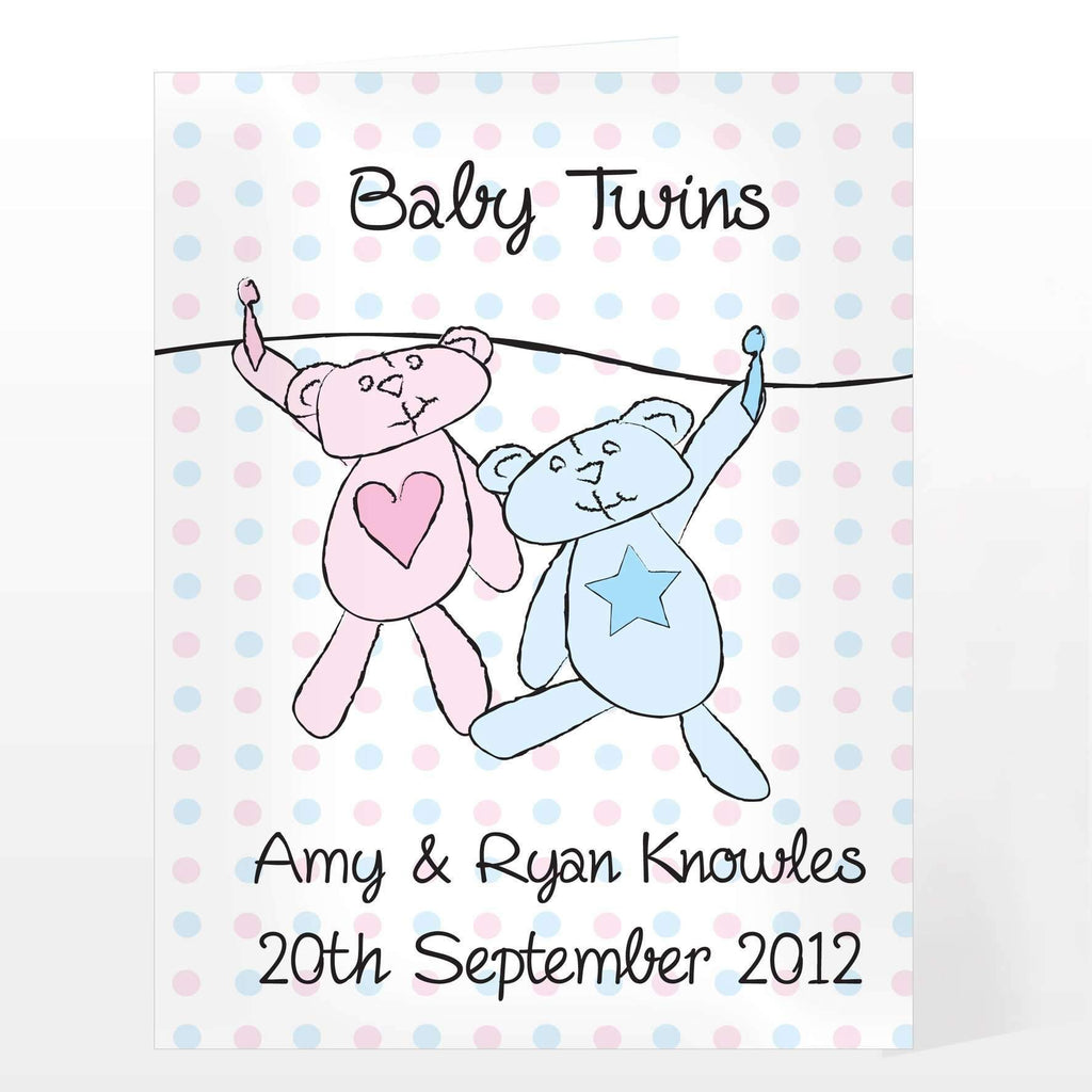 Personalised Mixed Twins Wash Line Card
