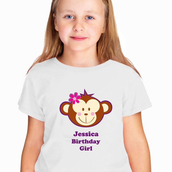 Personalised Monkey Girl Tshirt 5-6 years