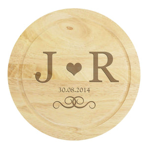 Personalised Monogram Large Chopping Board with Cheese Knives