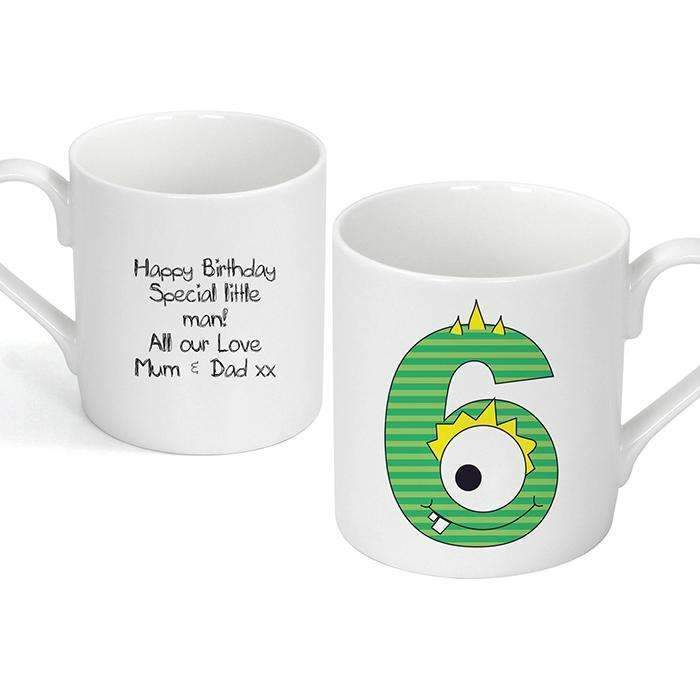 Personalised Monster Age Balmoral Mug - Age 6 Memento