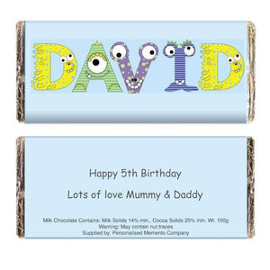 Personalised Monster Alphabet Milk Chocolate Bar