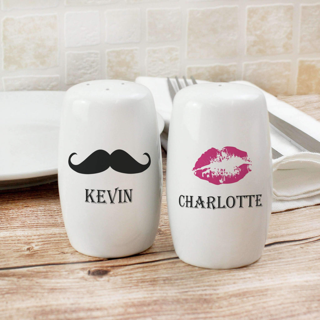 Personalised Moustache & Lips Salt and Pepper Set Memento