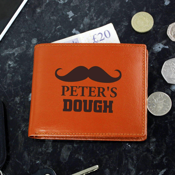 Personalised Moustache Tan Leather Wallet