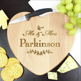 Personalised Mr and Mrs Leaf Heart Chopping Board Memento