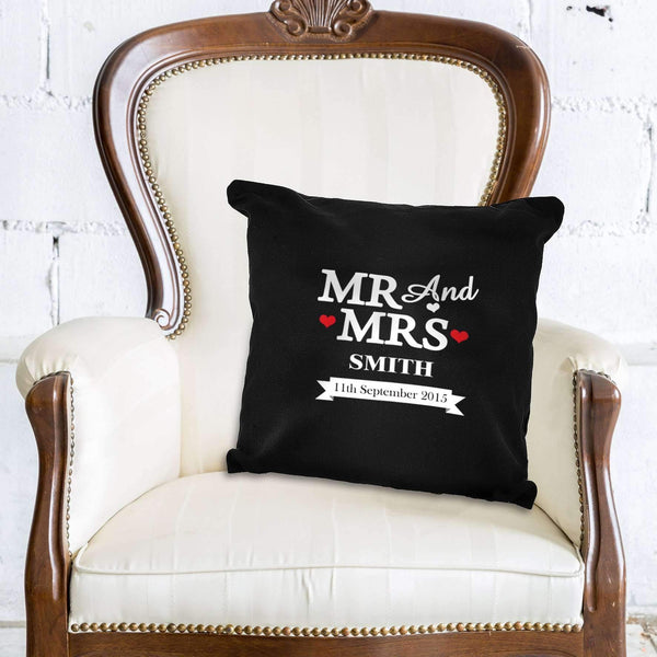 Personalised Mr & Mrs Black Cushion Cover