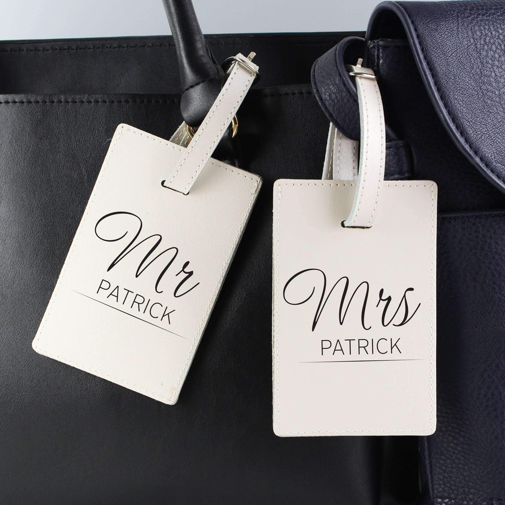 Personalised Mr & Mrs Classic Cream Luggage Tags