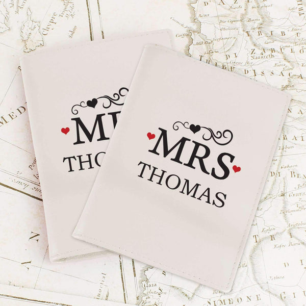 Personalised Mr & Mrs Cream Passport Holders