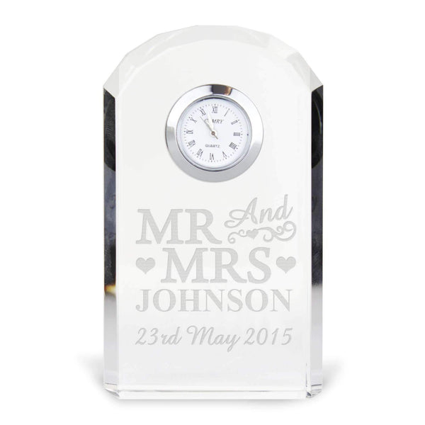 Personalised Mr & Mrs Crystal Clock