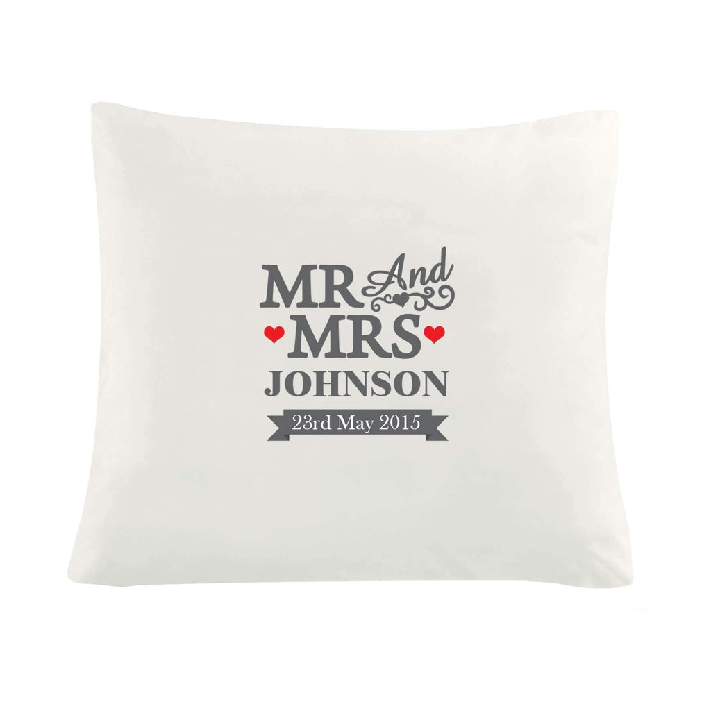 Personalised Mr & Mrs Cushion Cover Memento