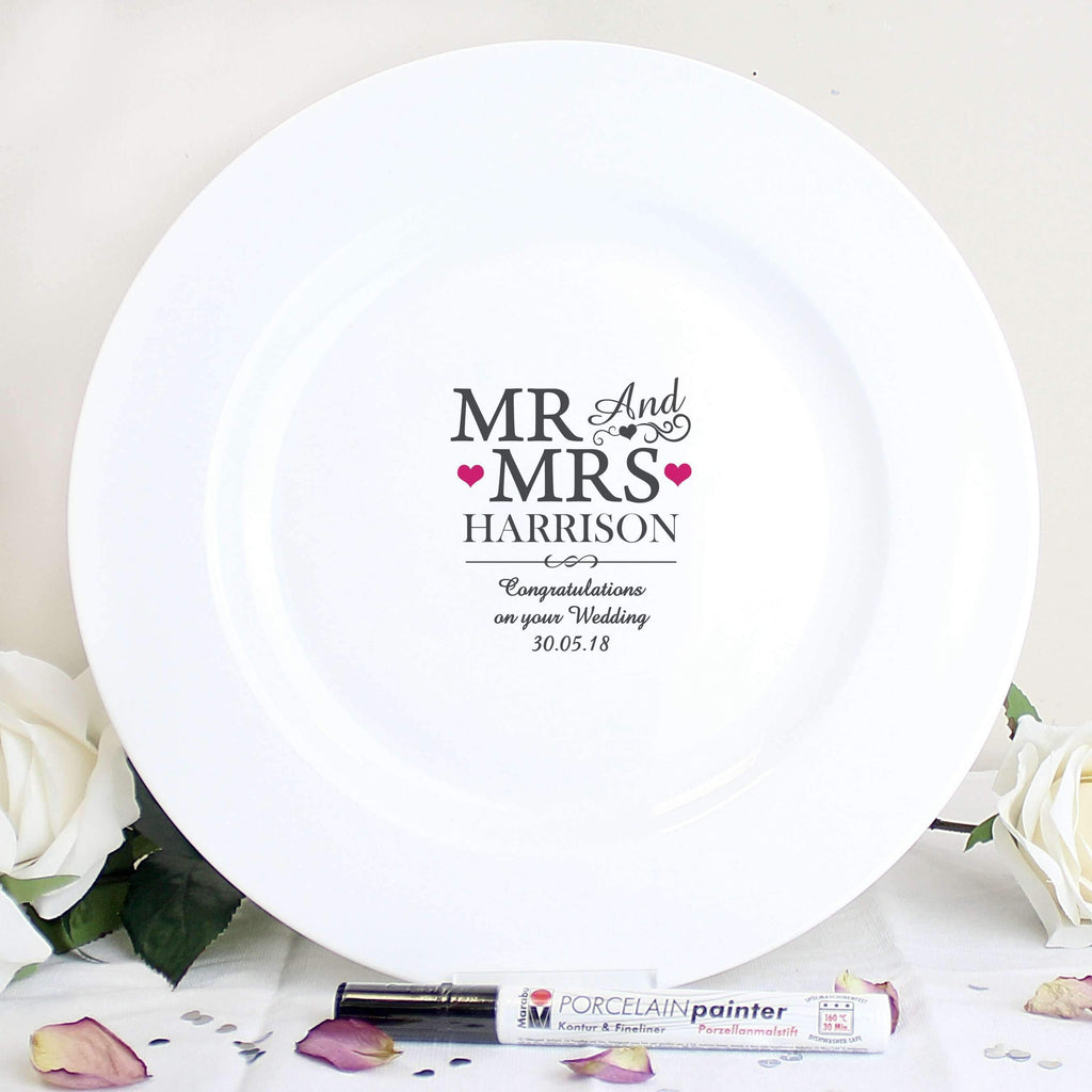 Personalised Mr & Mrs Message Plate Memento