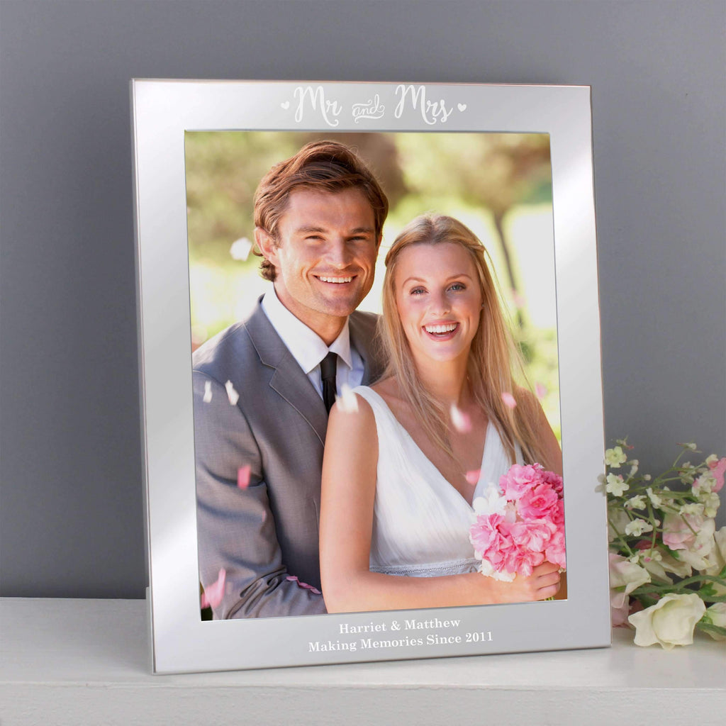 Personalised Mr & Mrs Silver 8x10 Photo Frame Memento