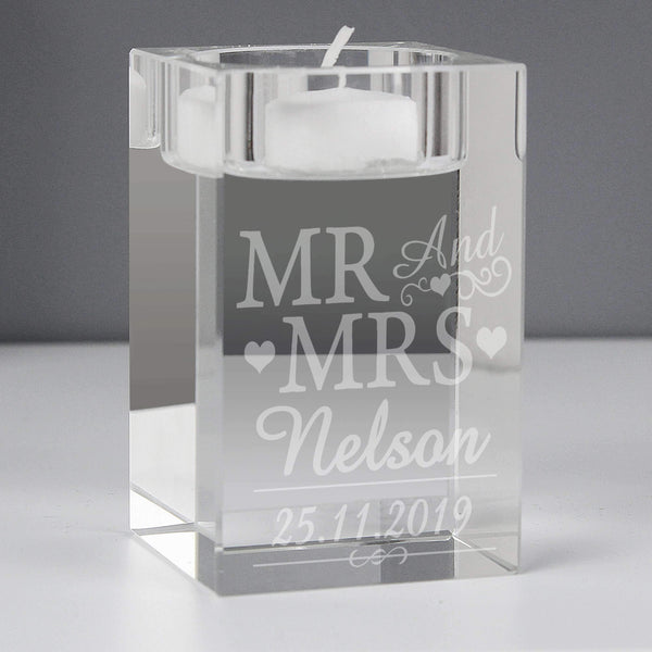 Personalised Mr & Mrs Tea Light Candle Holder