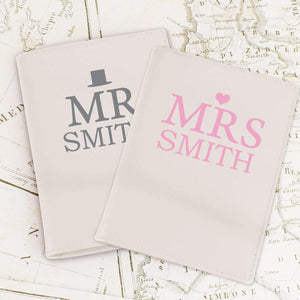 Personalised Mr & Mrs Top Hat Cream Passport Holders