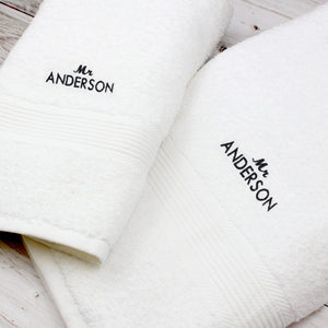 Personalised 'Mr' White Hand and Bath Towel Set
