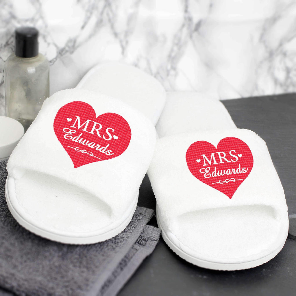 Personalised Mrs Velour Slippers Memento