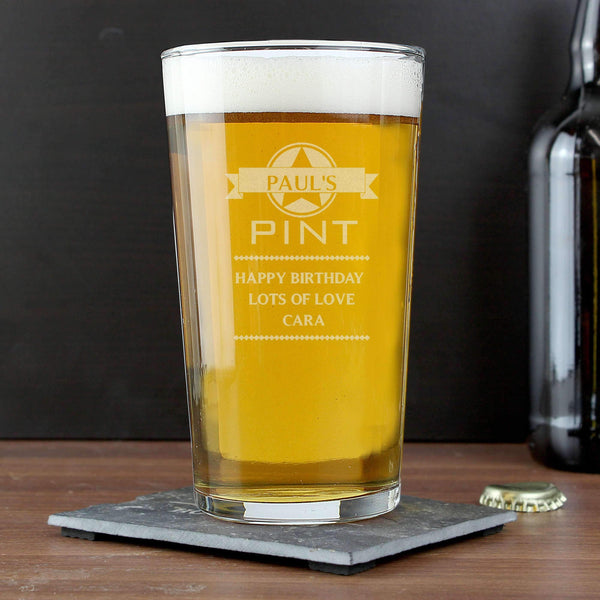 Personalised Name Banner Pint Glass