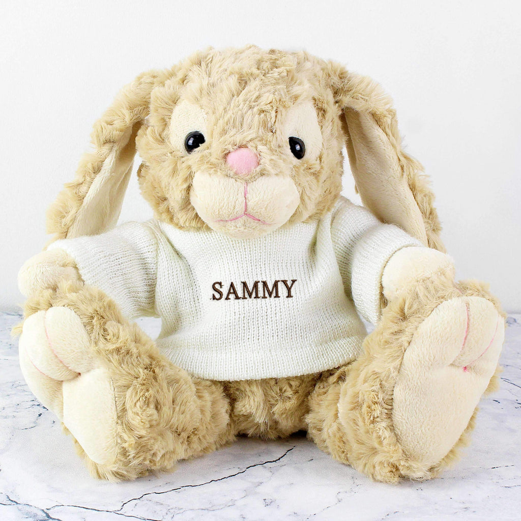 Personalised Name Only Bunny - Brown Embroidery Memento