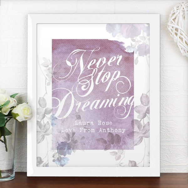 Personalised 'Never Stop Dreaming' Poster Frame