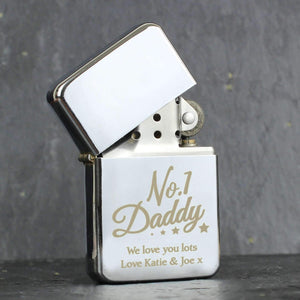 Personalised No.1 Daddy Silver Lighter