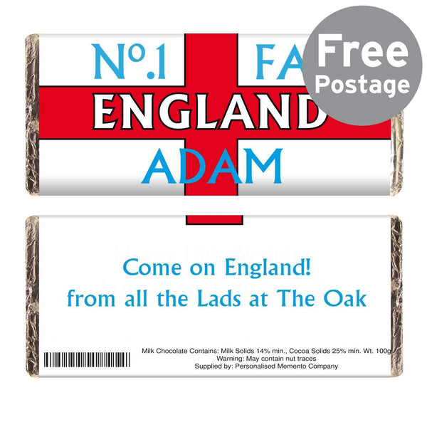 Personalised No1 England Fan Milk Chocolate Bar