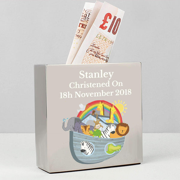 Personalised Noah's Ark Square Money Box