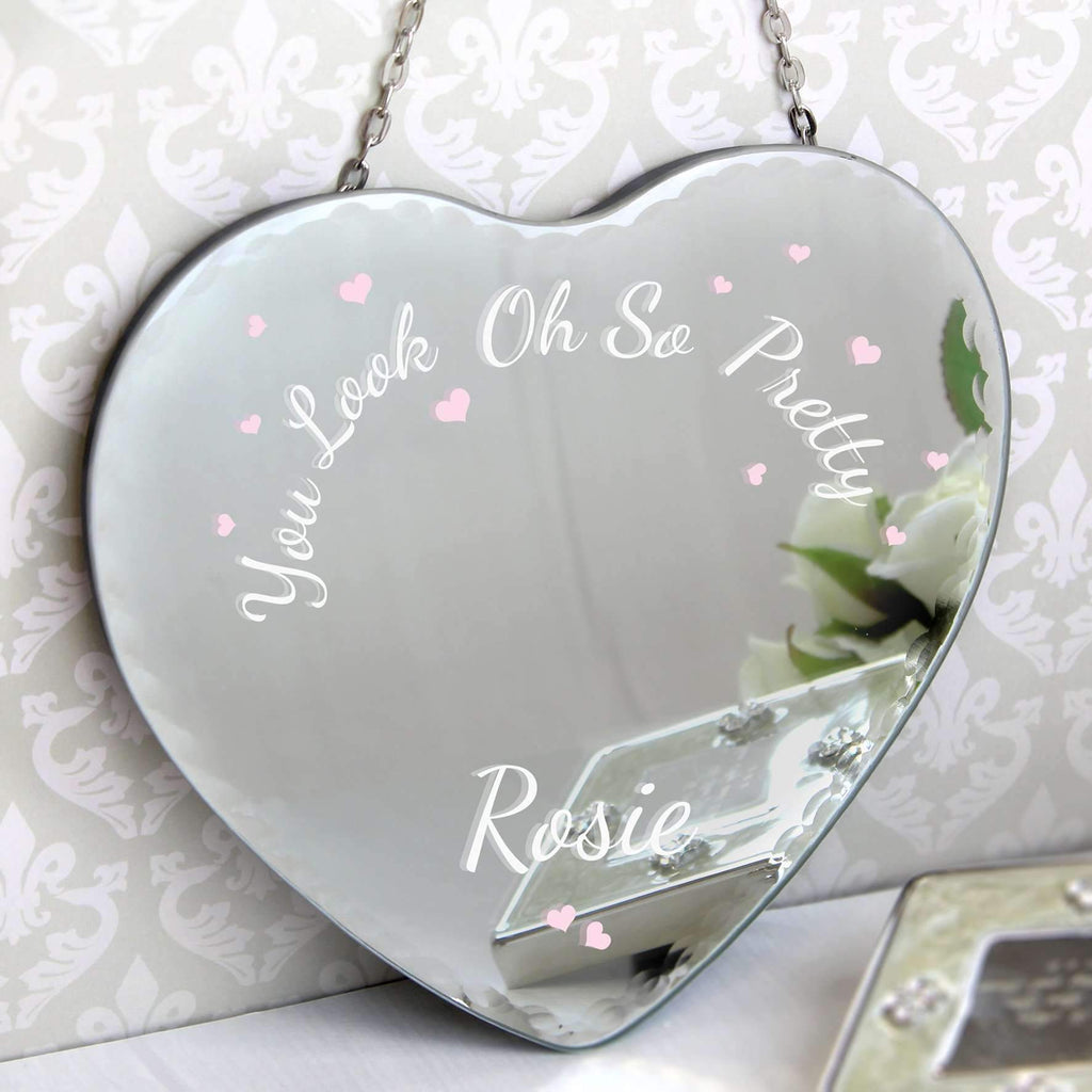 Personalised Oh So Pretty... Hanging Heart Mirror Memento