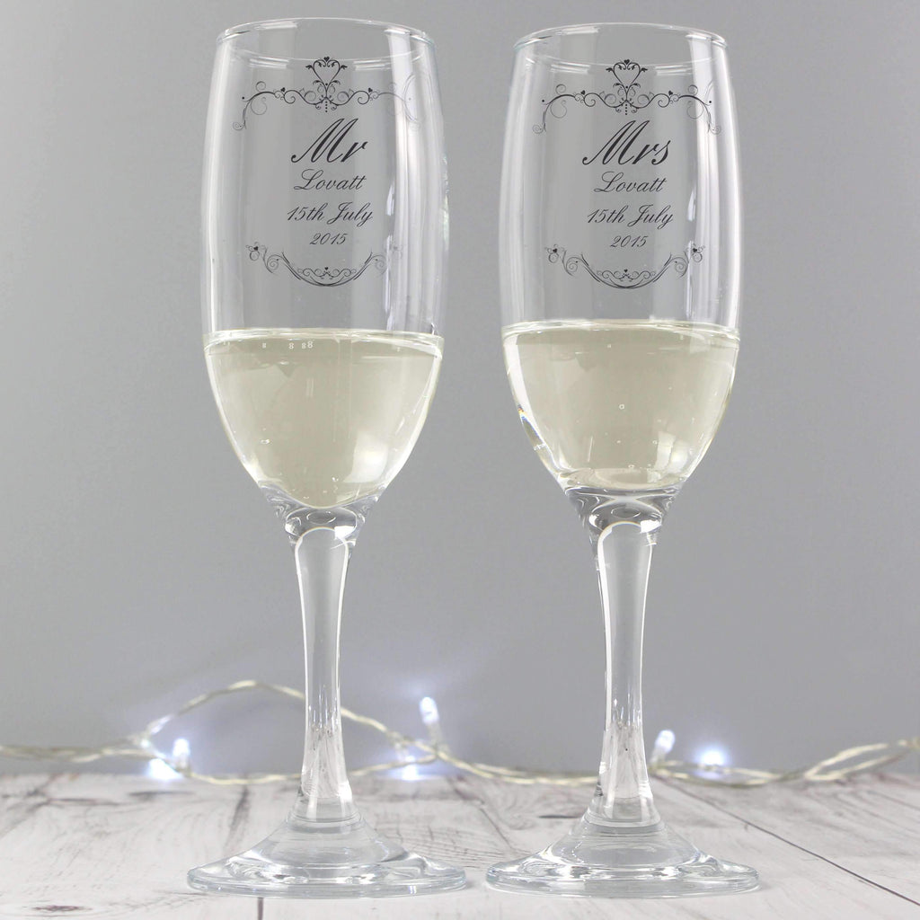 b1f671dbad1 Personalised Ornate Swirl Couples Pair of Flutes with Gift Box