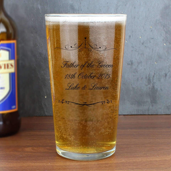 Personalised Ornate Swirl Pint Glass