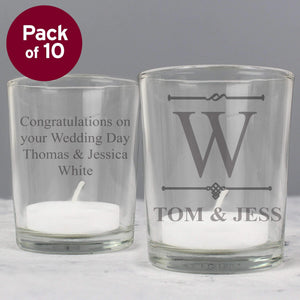 Personalised Pack of 10 Decorative Initial Votive Candle Holders