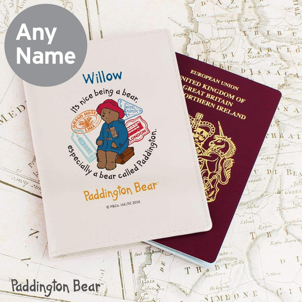 Personalised Paddington Bear Cream Passport Holder