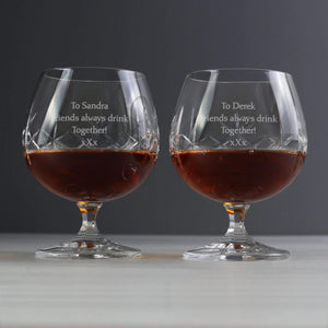 Personalised Pair of Crystal Brandy Glasses