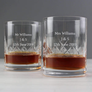 Personalised Pair of Crystal Whisky Tumblers