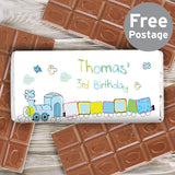 Personalised Patchwork Train Milk Chocolate Bar