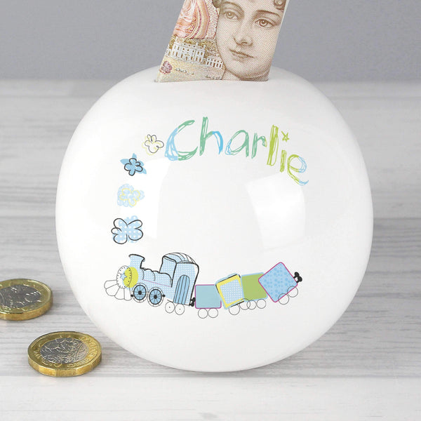 Personalised Patchwork Train Money Box