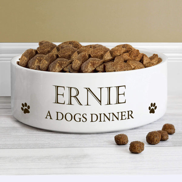 Personalised Paws 14cm Medium White Pet Bowl