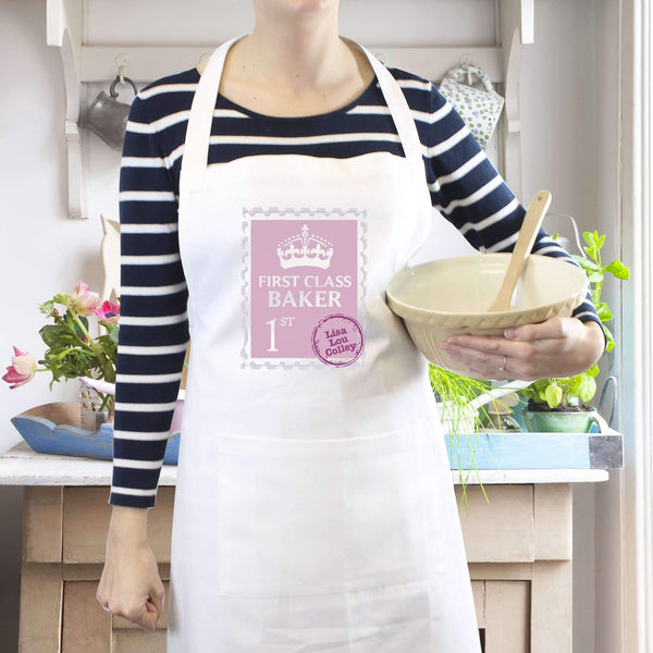 Personalised Pink 1st Class Apron