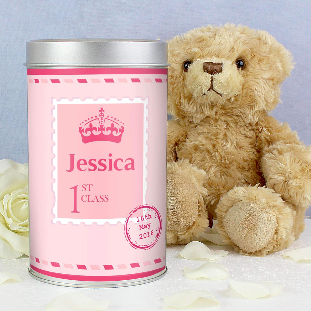 Personalised Pink 1st Class Teddy in a Tin Memento